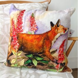 Alex Clark Cushion 'Fox and Foxgloves'
