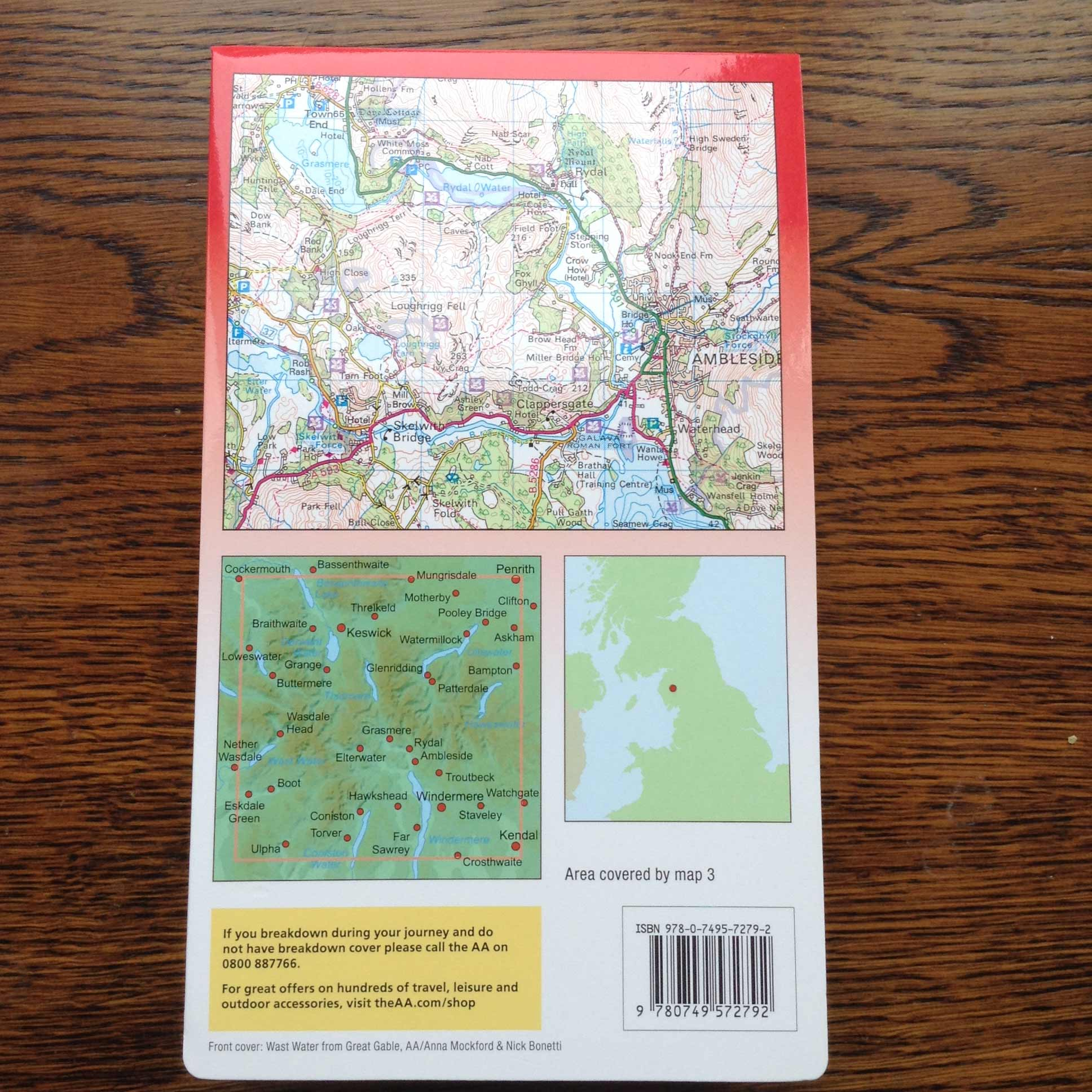 AA Walkers Map 3 Central Lake District