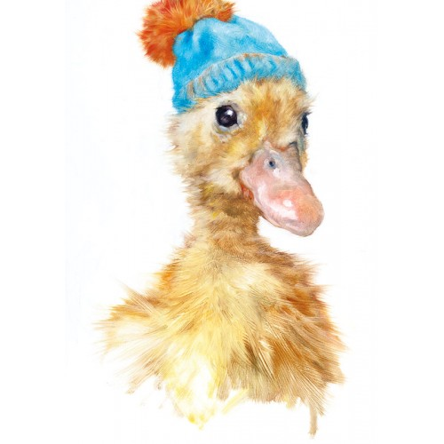 Cute duck with hat greeting card