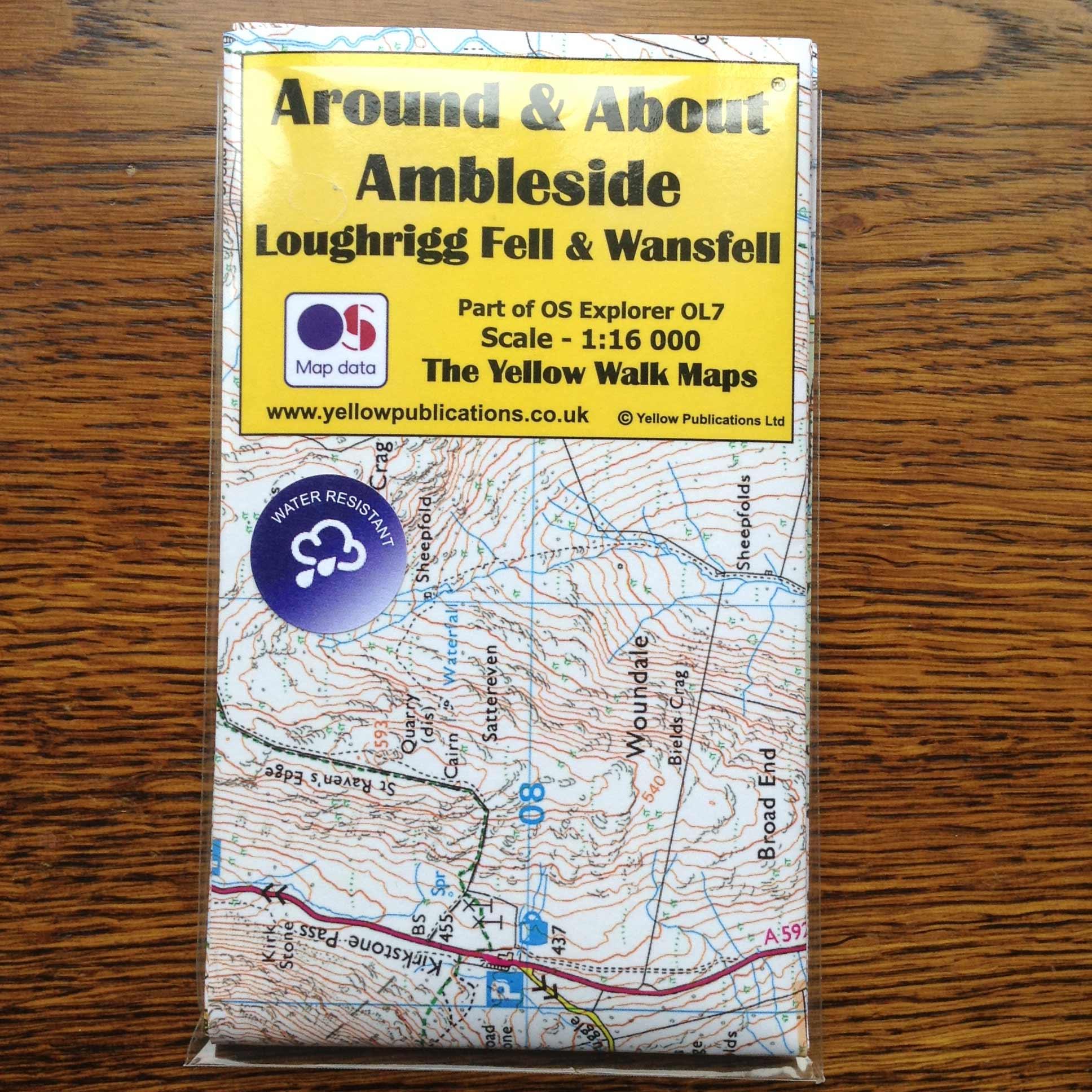 Ambleside, loughrigg & wansfell walking map