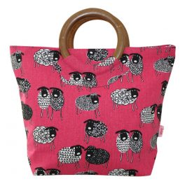 Wood handle hot pink bag